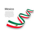 waving ribbon or banner with flag of mexico vector image
