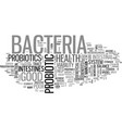 what to look for in a probiotic text word cloud vector image vector image