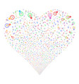 electric bulb fireworks heart vector image
