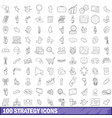 100 strategy icons set outline style vector image vector image