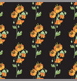 black floral seamless pattern with orange flowers vector image vector image