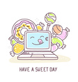 blue color laptop with colorful sweets an vector image