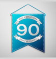 blue pennant with inscription ninety years vector image vector image