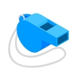 Blue sport whistle on a white cord isometric icon vector image vector image