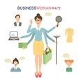Businesswoman with many hands multitasking vector image