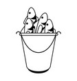 cartoon fish bait in bucket icon image vector image