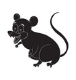cartoon opossum rodent silhouette isolated on vector image