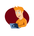 cartoon young man with laptop vector image vector image