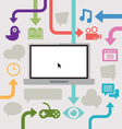 Cloud computing with a laptop and arrows vector image vector image