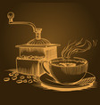 coffee theme sketch pictures vector image
