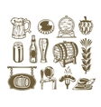 collection retro icons beer isolated on white vector image