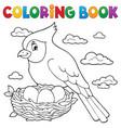 coloring book bird topic 3 vector image vector image