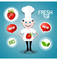 Cook - Chef with Strawberry and Fresh New Bio vector image vector image