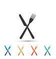 crossed fork and knife icon on white background vector image vector image