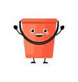 cute cartoon plastic red bucket character vector image