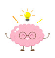 cute happy human brain in glasses with lightbulb vector image