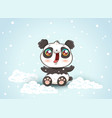 cute panda on snow vector image vector image