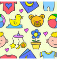 doodle of baby set object collection vector image vector image