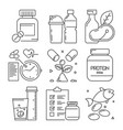 fitness dietary icons sport activities food vector image vector image