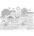 funny cityscape for coloring book vector image vector image