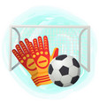 goalkeeper protection gloves catching soccer ball vector image vector image