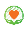 hand and love logo icon and sign in charity and vector image