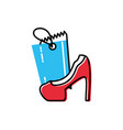 heel shoe of female with tag commercial vector image