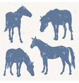Horse silhouettes with grunge effect vector image