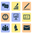 job icons set collection of chatting pen work vector image vector image