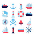 marine collection ship icons in flat style vector image vector image