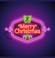 merry christmas neon sign violet vector image vector image