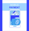 mobile phone payment app with money wallet screen vector image vector image