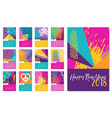 new year 2018 fun hand drawn color calendar vector image vector image