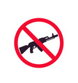 no guns sign with automatic rifle vector image vector image