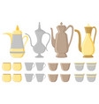 on theme big colored set different types jugs vector image vector image
