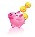 piggy bank and falling money vector image vector image