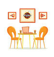 pizza house pizzeria with table and coffee cups vector image vector image