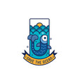 save ocean icon with fish vector image vector image