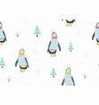 Seamless pattern with funny penguin cartoon