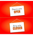 set of signs on the doors opened and closed on a vector image vector image
