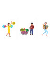 set people with purchases and grocery products big vector image