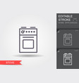 stove line icon with editable stroke with shadow vector image vector image