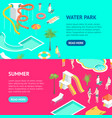 territory water park concept banner horizontal vector image vector image