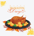 thanksgiving day chicken turkey on the black plate vector image
