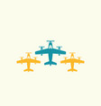 three flying airplane isolated icons vector image