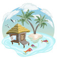 tropical island in the ocean with palm trees and vector image vector image