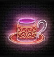 vintage glow signboard with a metal cup of vector image vector image