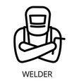 welder ready for work icon outline style vector image