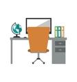 worplace desktop computer globe books chair vector image