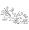 graceful ornament with cute bird on swirl floral vector image